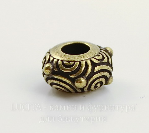 "Бусина - рондель TierraCast ""Спирали"" 11х6 мм (цвет-античная латунь)"