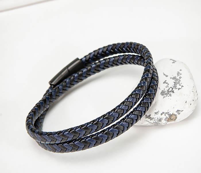 Двойной мужской браслет шнур из кожи двойной мужской браслет из кожи черного цвета