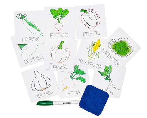 Карточки прописи пиши-стирай Овощи, Smile Decor