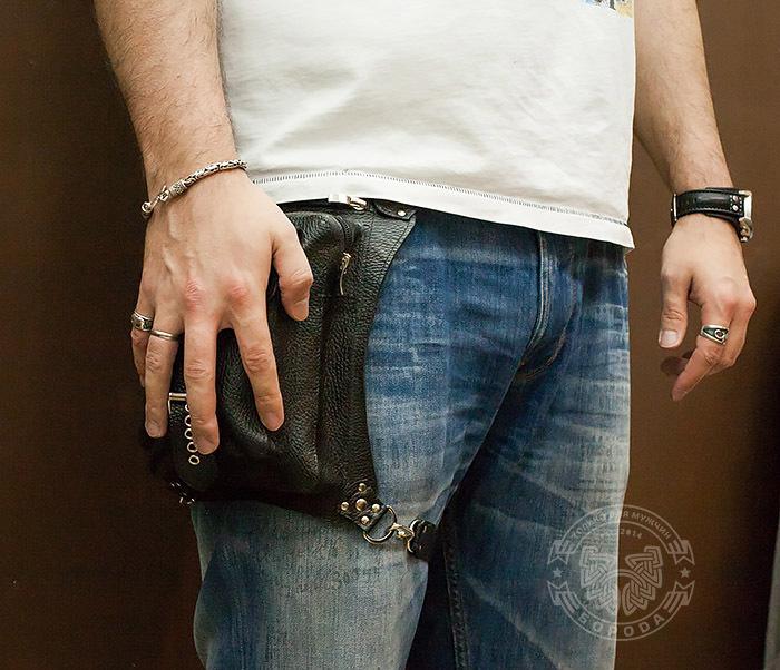 BAG369-1 Мужская набедренная сумка ручной работы из натуральной кожи фото 10