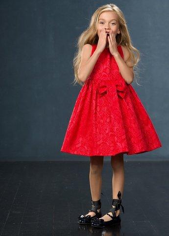 PelicanGWDV3037/1 Платье для девочек нарядное красное