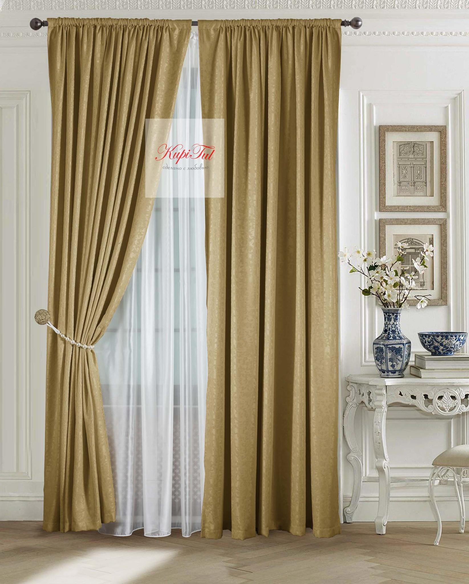 Комплект штор Луи (тёмное-золото). Шторы из стриженного бархата.