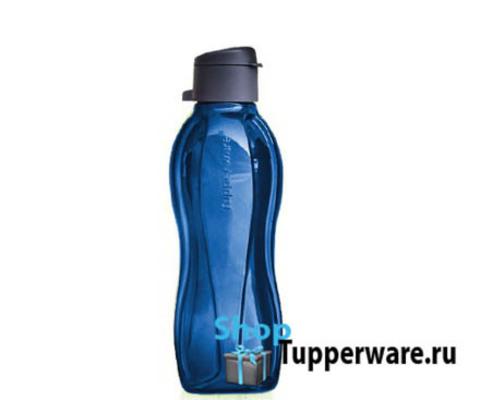 бутылка эко с клапаном в темно-синем цвете