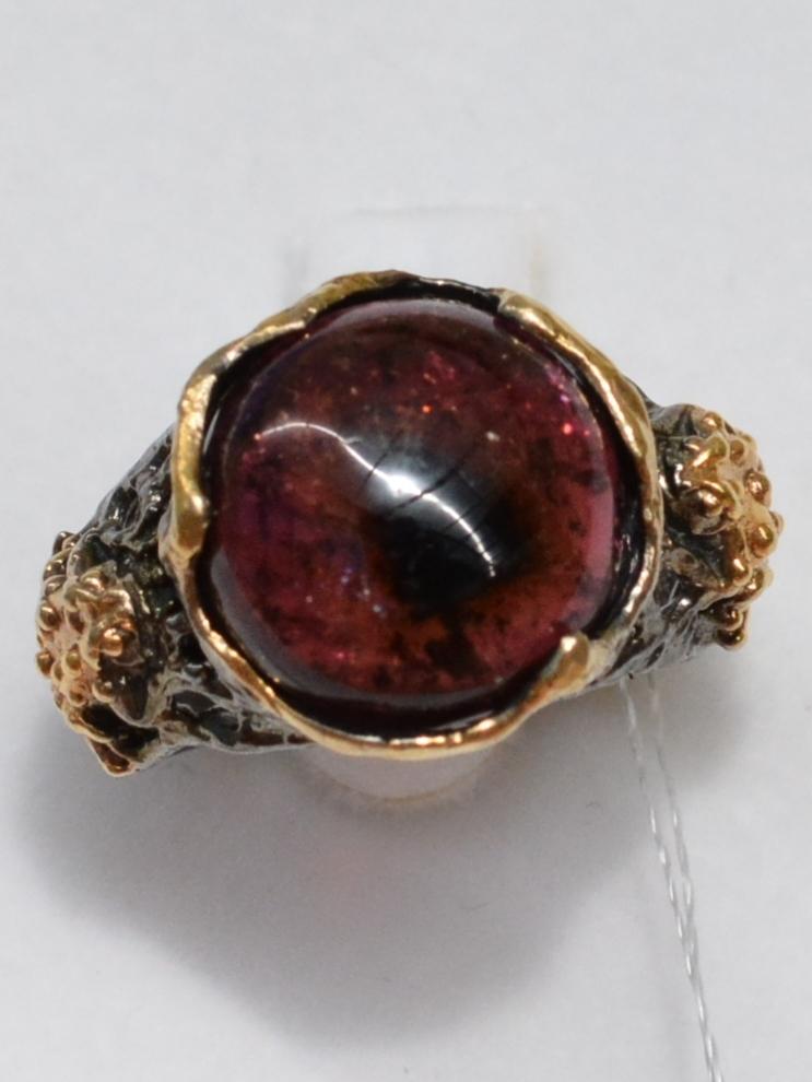 Турмалин малый (серебряное кольцо с позолотой)