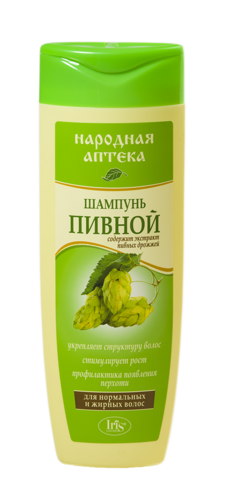 Iris Народная аптека Шампунь Пивной для нормальных и жирных волос 400мл