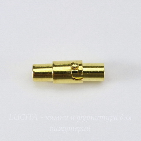 Замок для шнура 2,8 мм магнитный из 2х частей, 16х5 мм (цвет - золото)