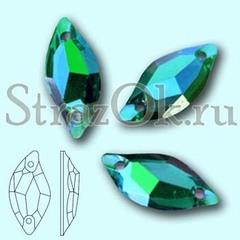 Стразы пришивные акриловые Leaf Emerald AB, Листок Эмеральд АБ зеленый с радужным покрытием на StrazOK.ru