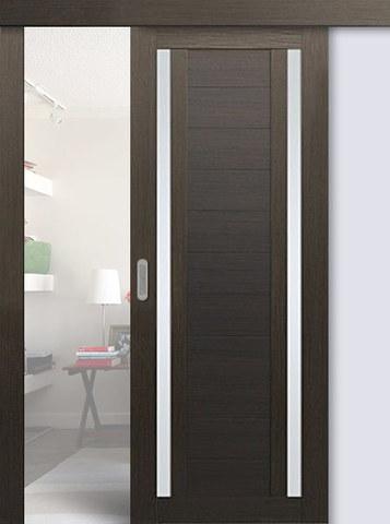 Дверь раздвижная Profil Doors №15Х, стекло матовое, цвет венге мелинга, остекленная