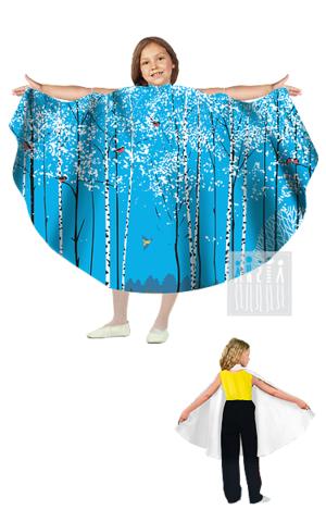 Фото Живые декорации Полупончо Зима - Лес рисунок Карнавальные костюмы времена года - популярные образы детских утренников и досугов. В этом разделе представлены разнообразные модели времен года и явлений природы.
