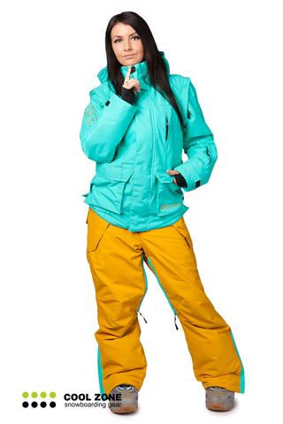 Сноубордический комбинезон Cool Zone 3в1 бирюза-песочный женский
