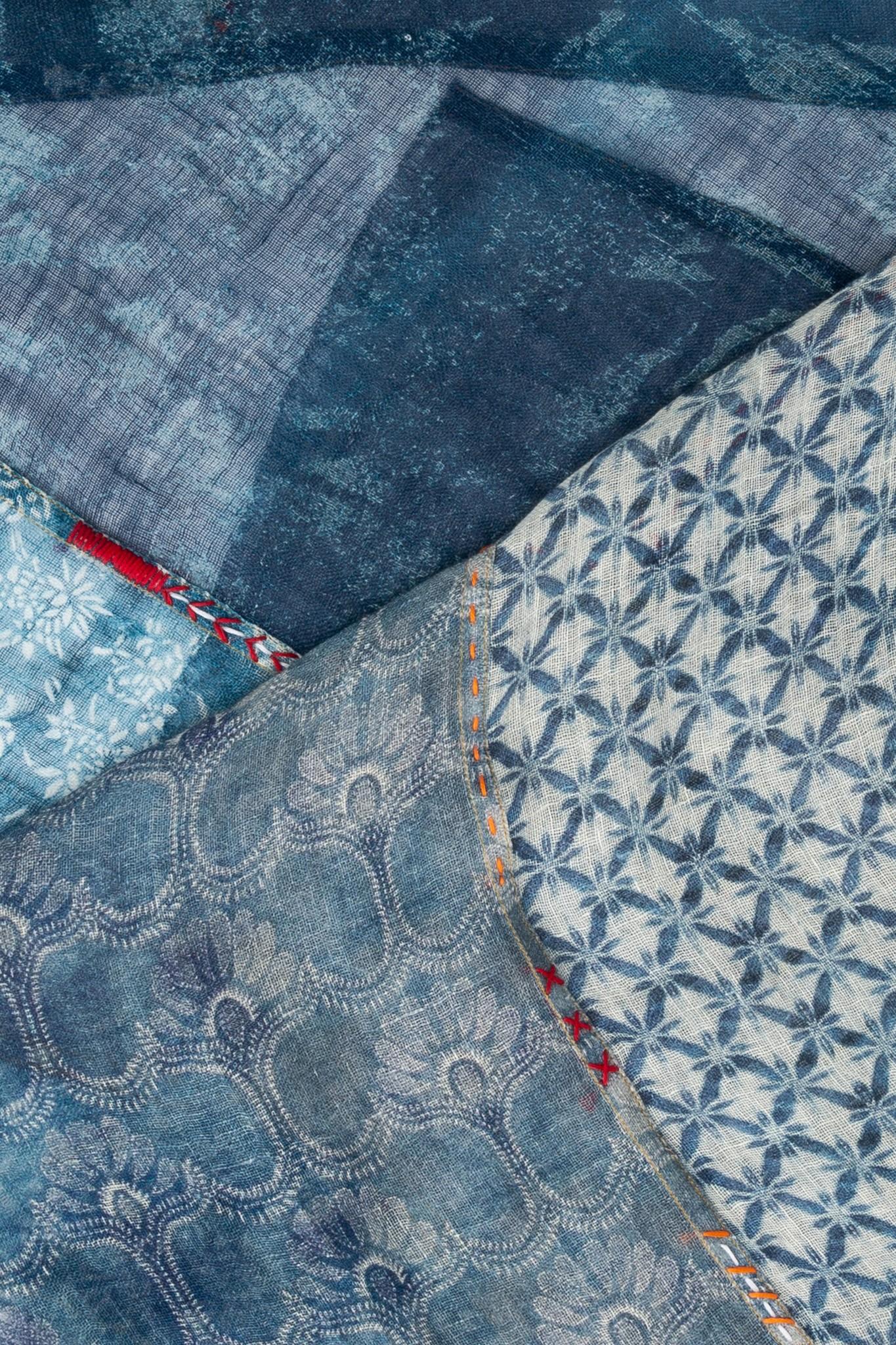 INDIA - шарф из льна с вышивкой