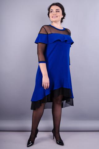 Ліка. Стильна жіноча сукня плюс сайз. Електрик.