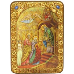Инкрустированная Икона Введение Во Храм Богородицы 29х21см на натуральном дереве, в подарочной коробке