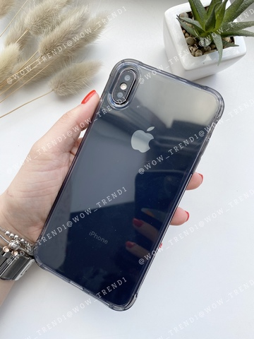 Чехол iPhone XS Max Simple simple angle silicone /transparent black/ 443