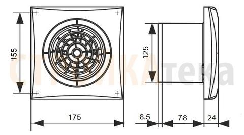 Вентилятор Эра AURA 5C MR D125 с таймером и обратным клапаном