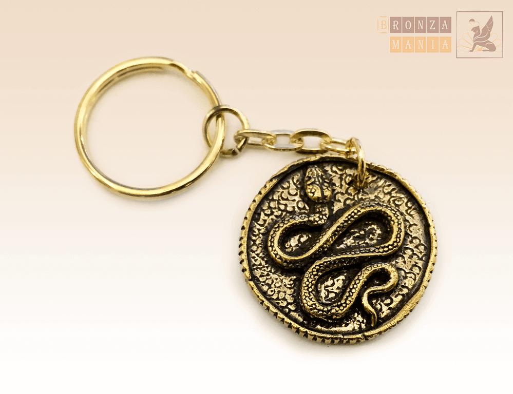 брелок Змея с иероглифом (античная монета)