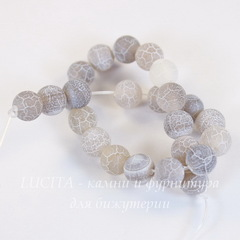 Бусина Агат цветочный матовый (тониров), шарик, цвет - серый, 8 мм, нить