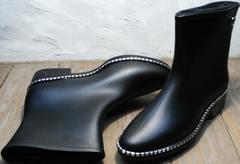 Резиновые сапоги модные женские Hello Rain Story 1019 Black.