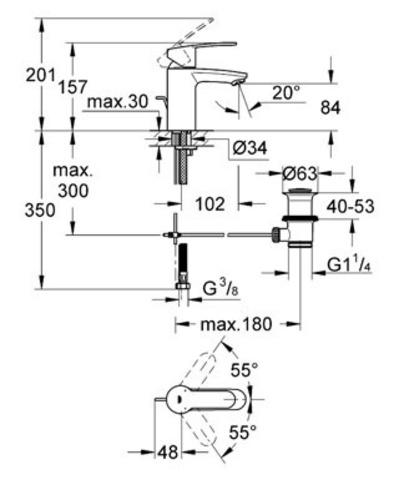 Смеситель для раковины Grohe Eurostyle Cosmopolitan с цепочкой 33557002 схема
