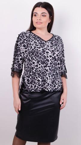 Меггі. Святковий костюм для жінок великих розмірів. Леопард сірий.
