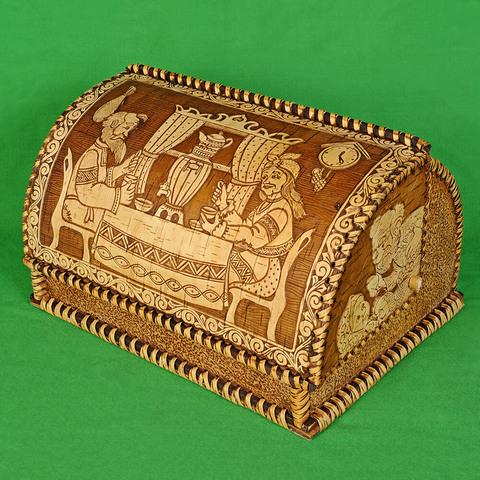 Хлебница из бересты с изображением Чаепития пять