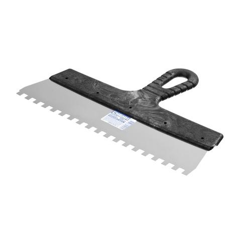 Шпатель нержавеющий СИБИН зубчатый, с пластмассовой ручкой, зуб 8х8мм, 300мм