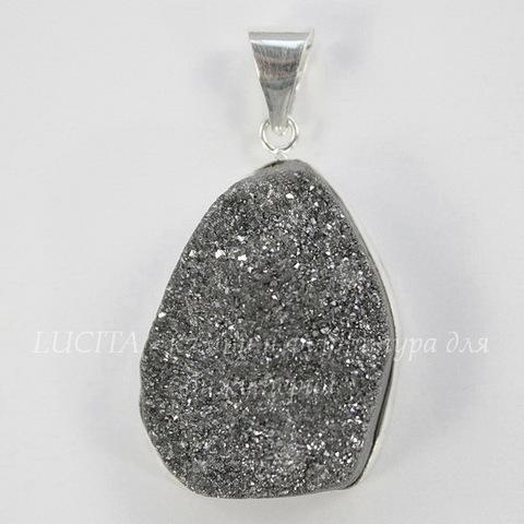 Подвеска Кварц в рамке (цвет - античное серебро) 36,1х23,7х12,5 мм №47