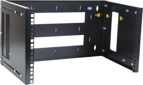 Кронштейн телекоммуникационный настенный 6U, регулируемая глубина 300-450 мм, цвет черный