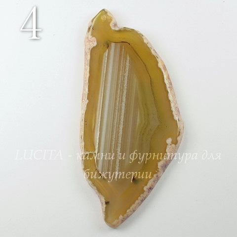 Подвеска Срез Агата, цвет - дымчатый желтый, 72-103 мм (№4 (95х44 мм)(ЦАРАПИНА))
