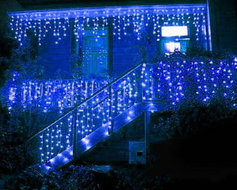 Гирлянда led бахрома синяя 5 м на 0,7 м сталактиты