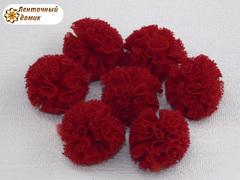 Помпоны из фатина темно-красные 20 мм