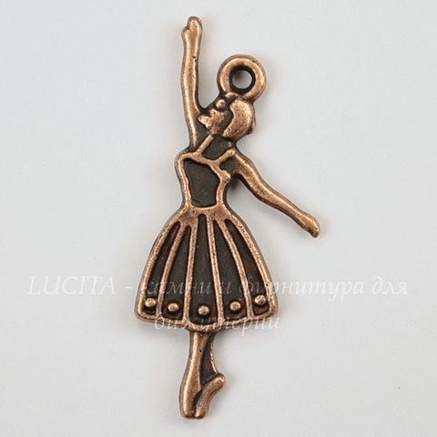 "Подвеска ""Балерина"" (цвет - античная медь) 32х13 мм"