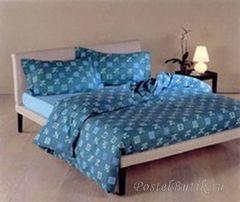Постельное белье 2 спальное евро макси Caleffi Mosaico синее