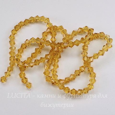 Бусина стеклянная, биконус, цвет - желтый, 4 мм, нить