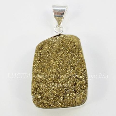 Подвеска Кварц в рамке (цвет - античное серебро) 35,4х22,6х10,4 мм №44