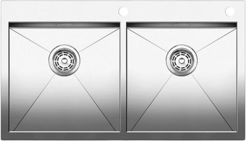 Кухонная мойка Blanco ZEROX 400/400-IF/А, клапан-автомат, нержавеющая сталь