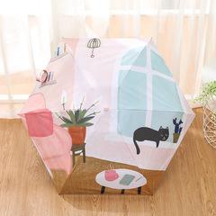 Оригинальный маленький зонт с защитой от УФ, 6 спиц, Япония, с ярким принтом 03