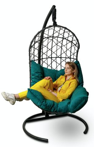 Подвесное кресло-кокон БАРСЕЛОНА + каркас + зеленая подушка
