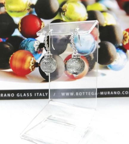Серьги из муранского стекла со стразами Allegra Ca'D'oro Silver Black CC064OB