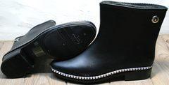 Короткие резиновые сапоги модные женские Hello Rain Story 1019 Black.