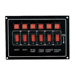 Панель переключателей (6 шт) горизонтальная черная, алюминий