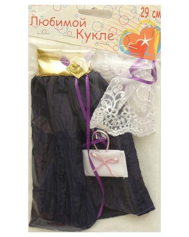 Платье из жатой парчи - Фиолетовый / золото. Одежда для кукол, пупсов и мягких игрушек.