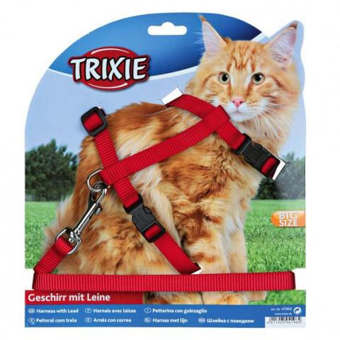 Trixie шлейка с поводком для крупных кошек 34-57см/13мм