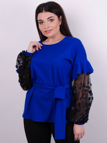 Карина. Женская блуза с рюшами больших размеров. Электрик.