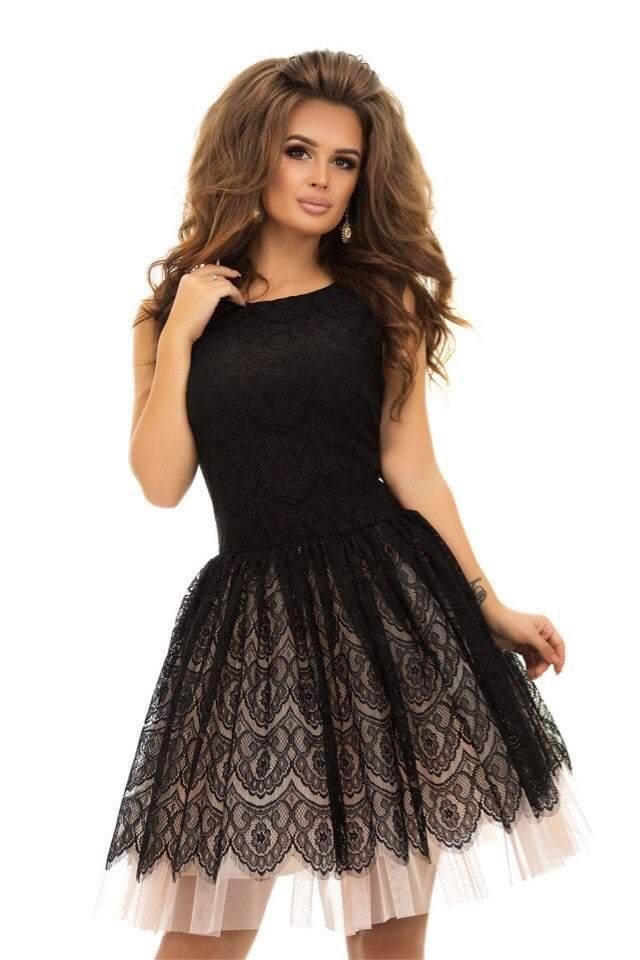 Коктейльное кружевное платье с пышной юбкой, черно-розовое купить в ... 3ae7ca3cc2c
