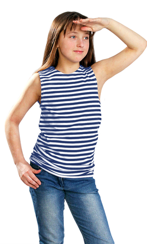 Майка-тельняшка детская тк. кулирка синяя полоса