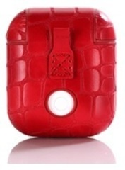 Чехол на airpods крокодиловый (красный) экокожа