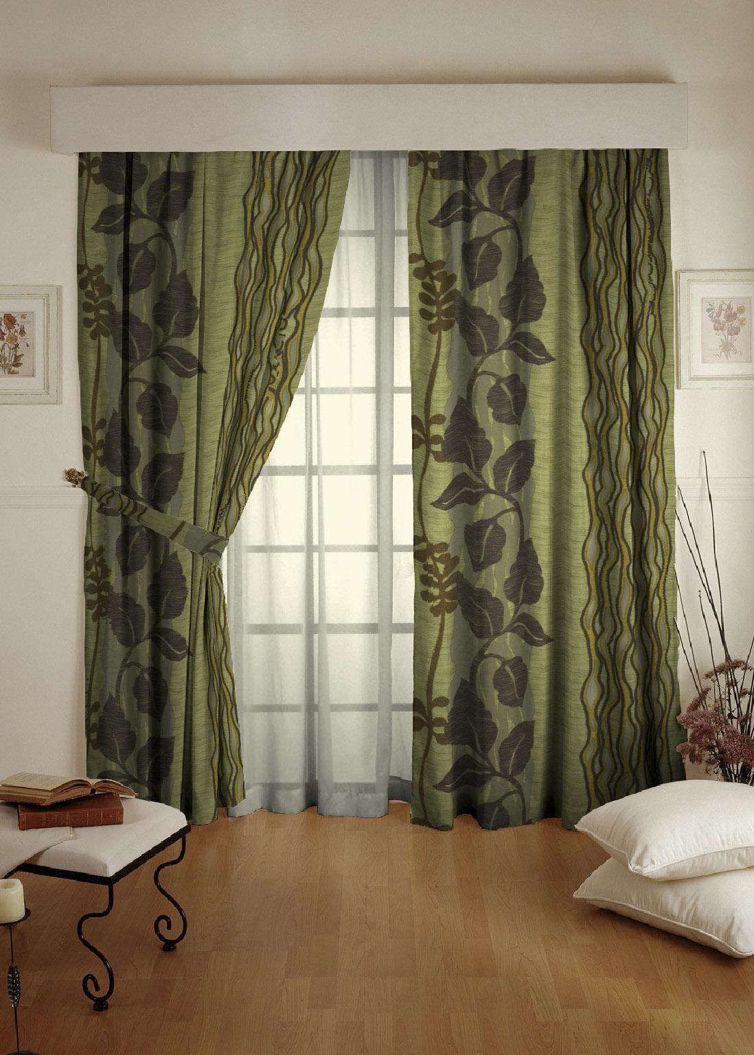 Готовая штора. Портьера с печатным рисунком Jungle (зелень)