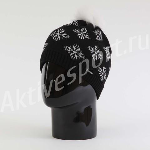 Шапка вязаная с помпоном Eisbar Royal Fur Crystal 009