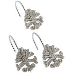 Набор из 12 крючков для шторки Carnation Home Fashions Fleur di Lis Silver